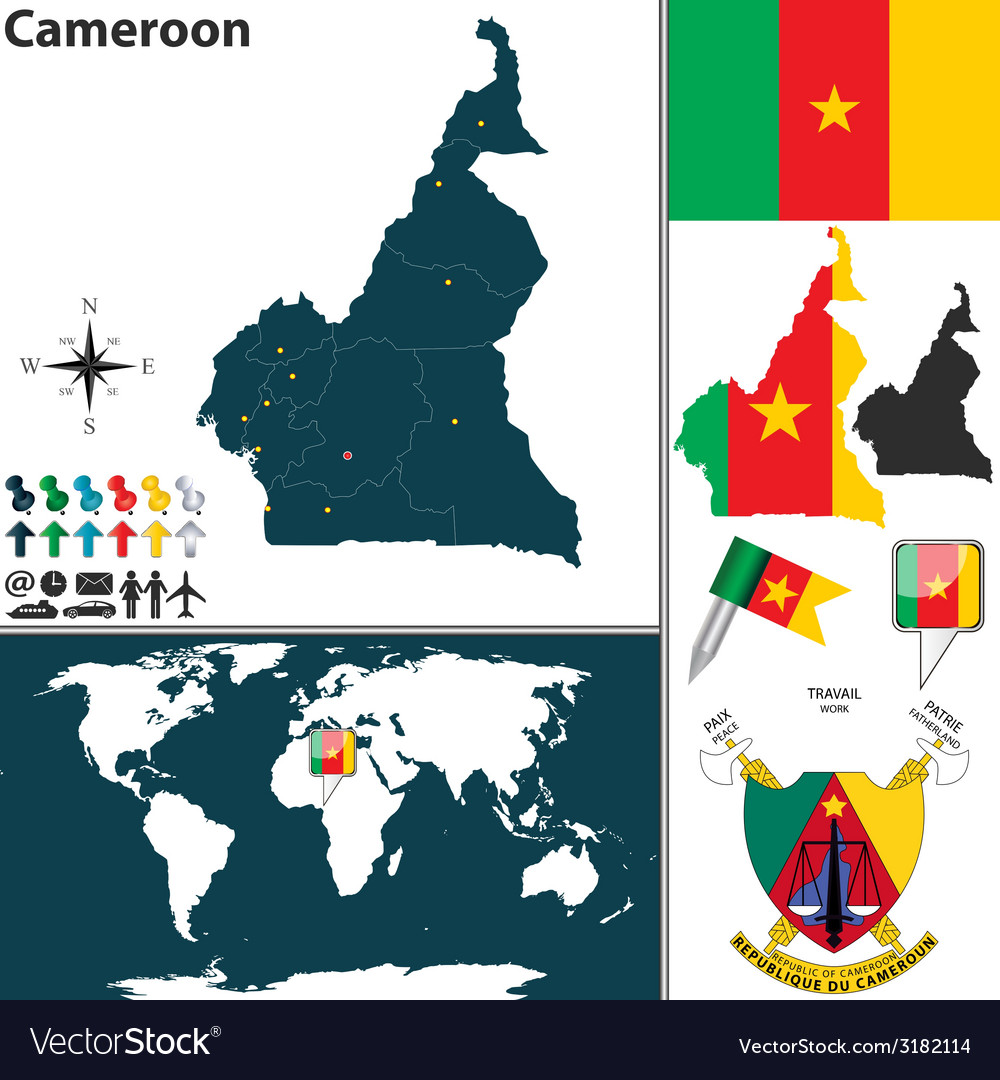 Cameroon map vector | Price: 1 Credit (USD $1)