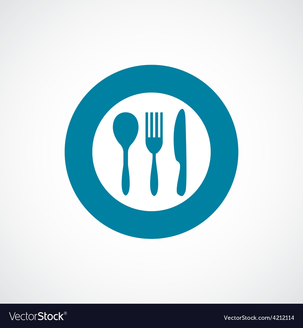 Cutlery icon bold blue circle border vector | Price: 1 Credit (USD $1)