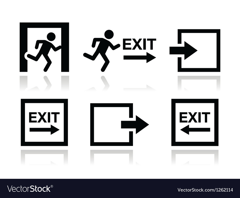 Emergency exit icons set vector | Price: 1 Credit (USD $1)