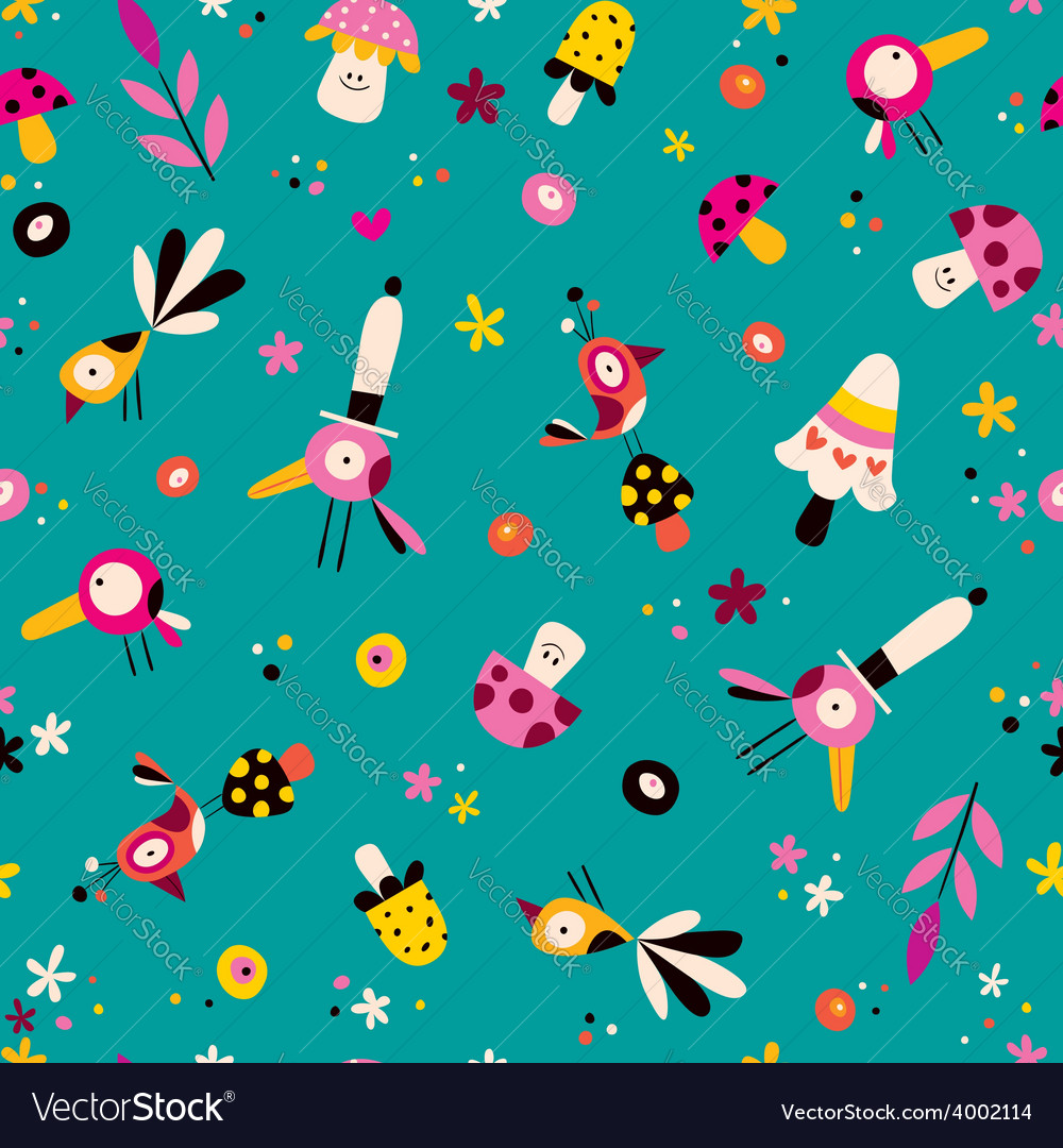 Flowers birds and mushrooms nature seamless vector | Price: 1 Credit (USD $1)