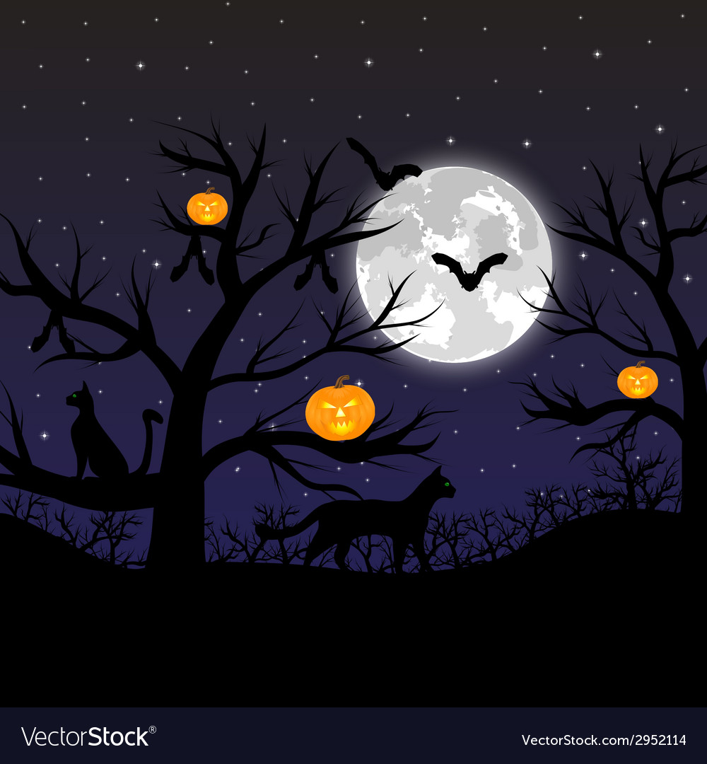 Forest with pumpkins bats and cats vector | Price: 1 Credit (USD $1)