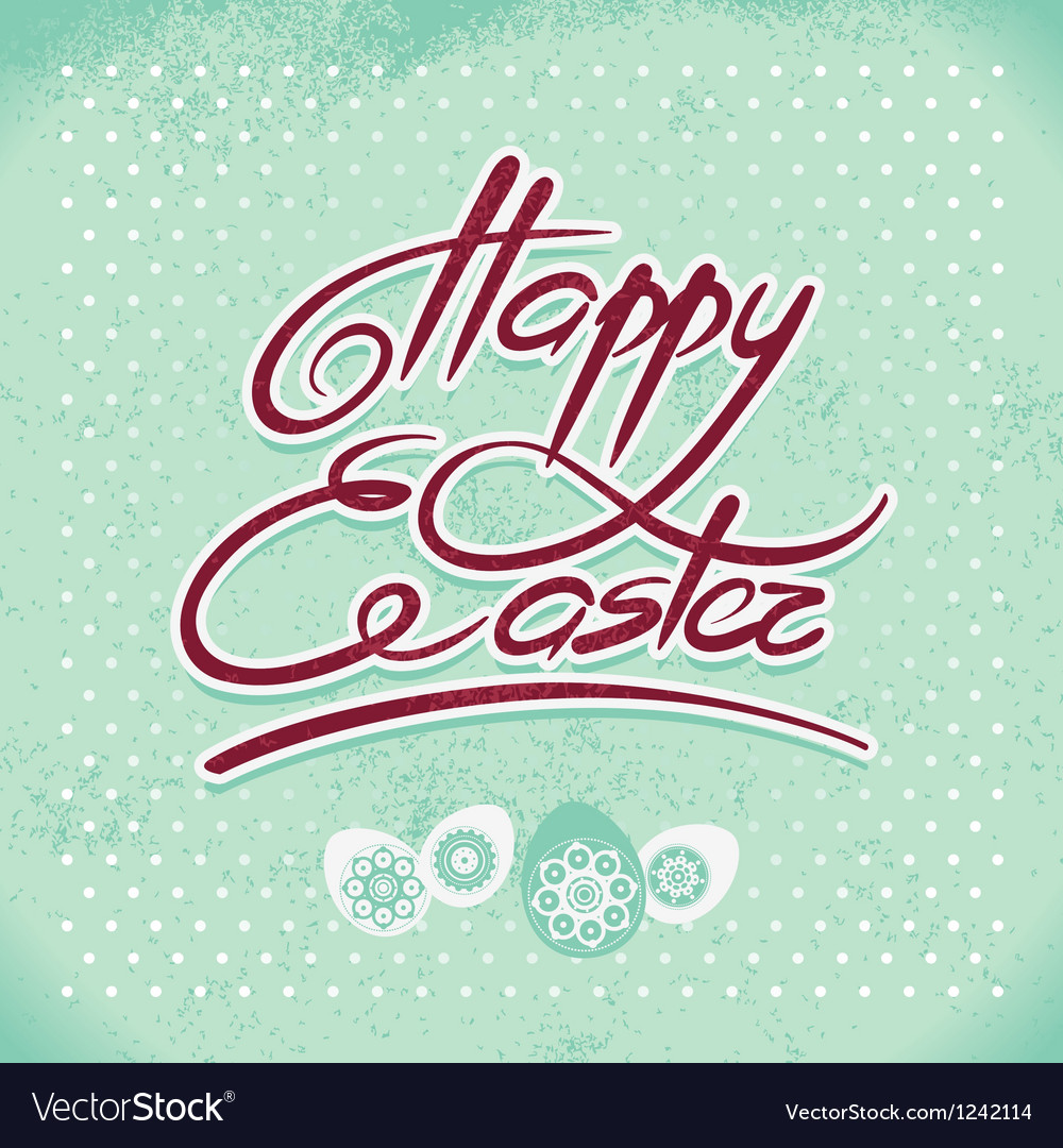 Happy easter hand lettering handmade calligraphy vector | Price: 1 Credit (USD $1)