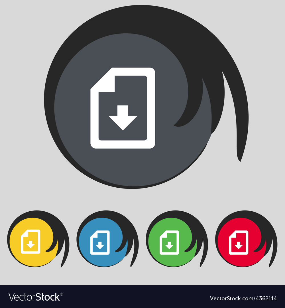 Import download file icon sign symbol on five vector | Price: 1 Credit (USD $1)