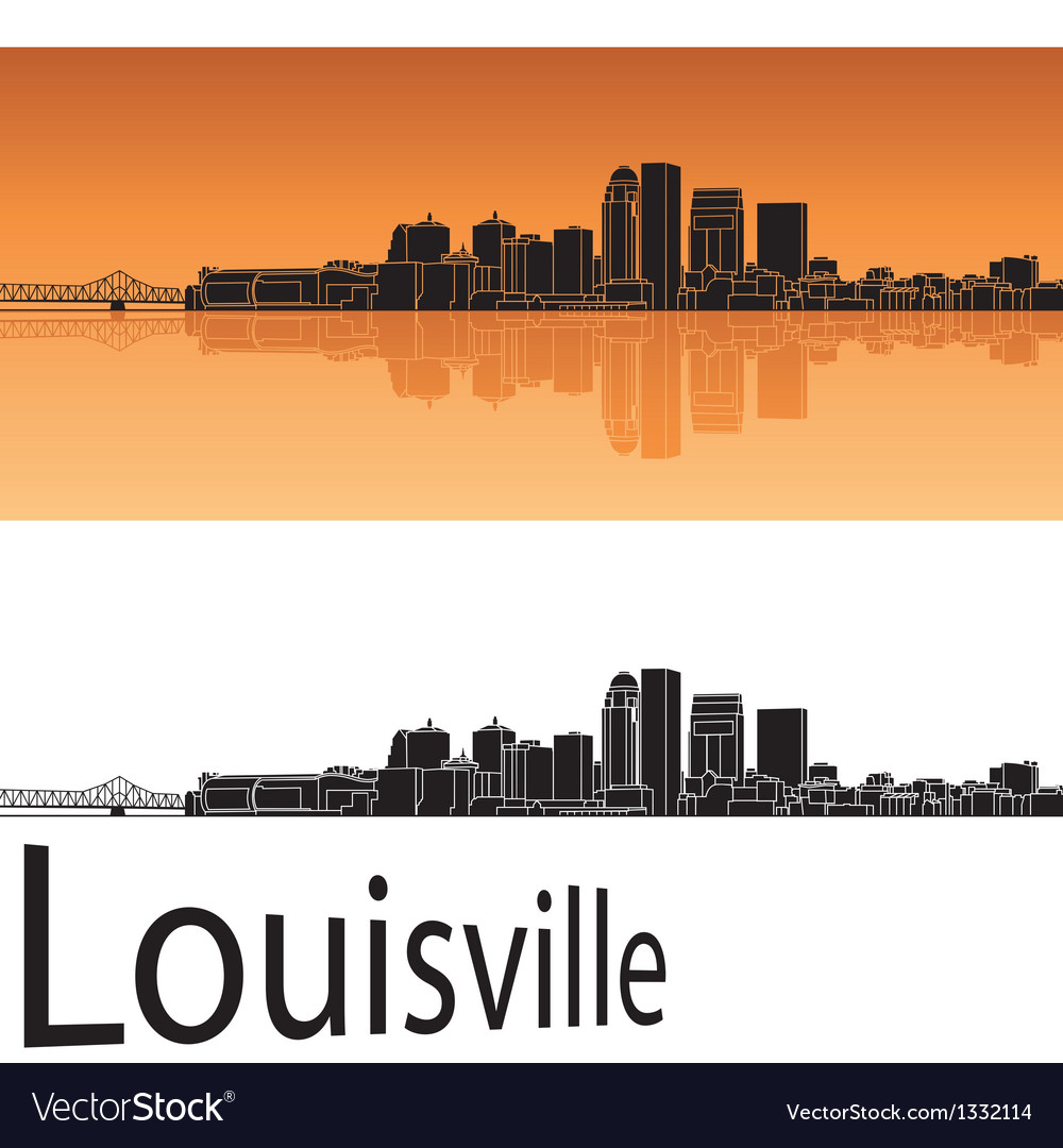 Louisville skyline in orange background vector | Price: 1 Credit (USD $1)