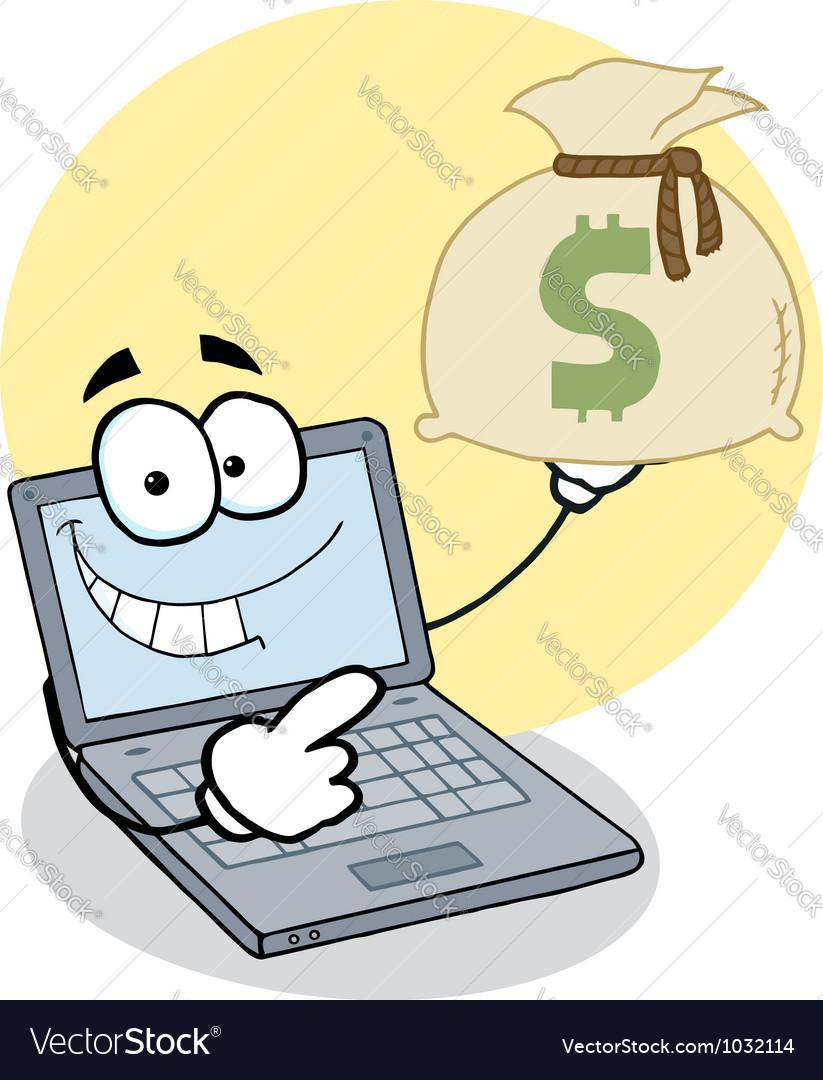 Notebook cartoon character displays money bag vector | Price: 1 Credit (USD $1)