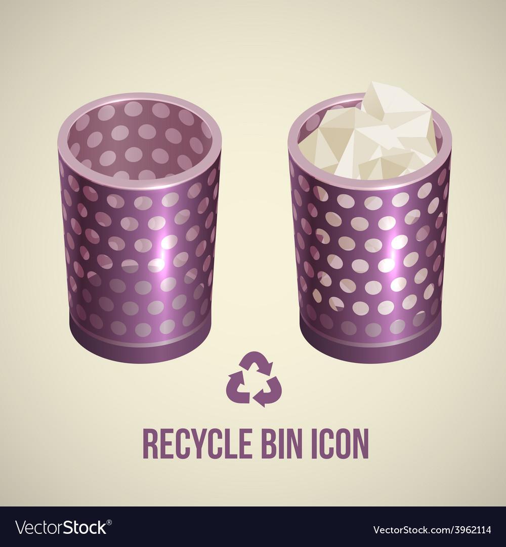 Realistic recycle bin icon vector | Price: 3 Credit (USD $3)