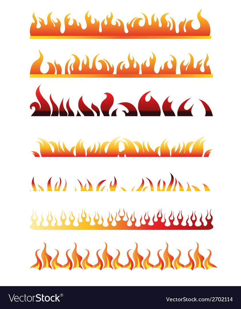 Set of fire border element line frame vector | Price: 1 Credit (USD $1)