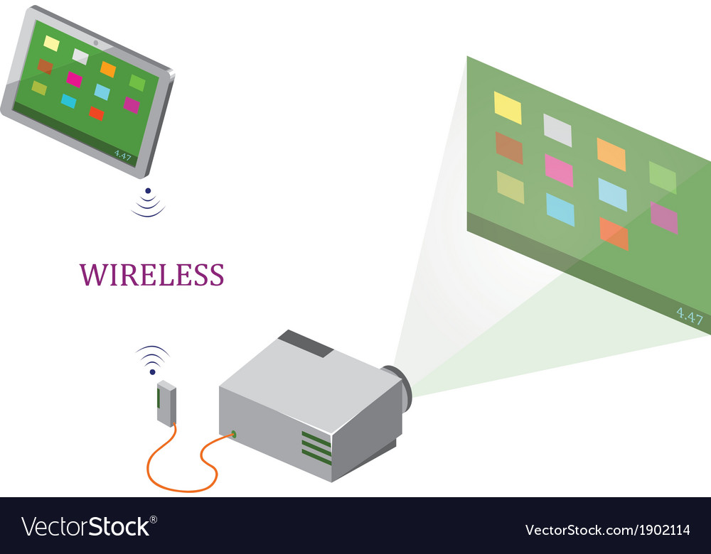 Wireless tablet and projector vector | Price: 1 Credit (USD $1)