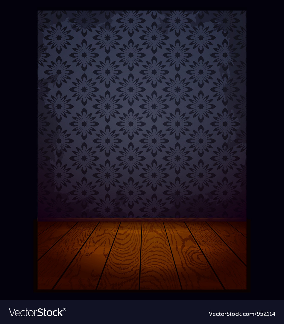 Wood room with wallpaper blue vector | Price: 1 Credit (USD $1)