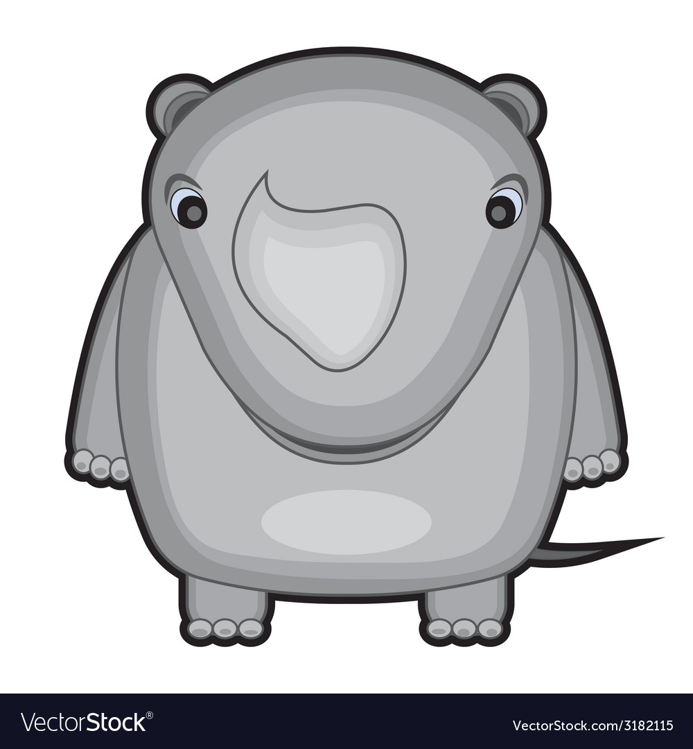 Cartoon of a baby rhino vector | Price: 1 Credit (USD $1)