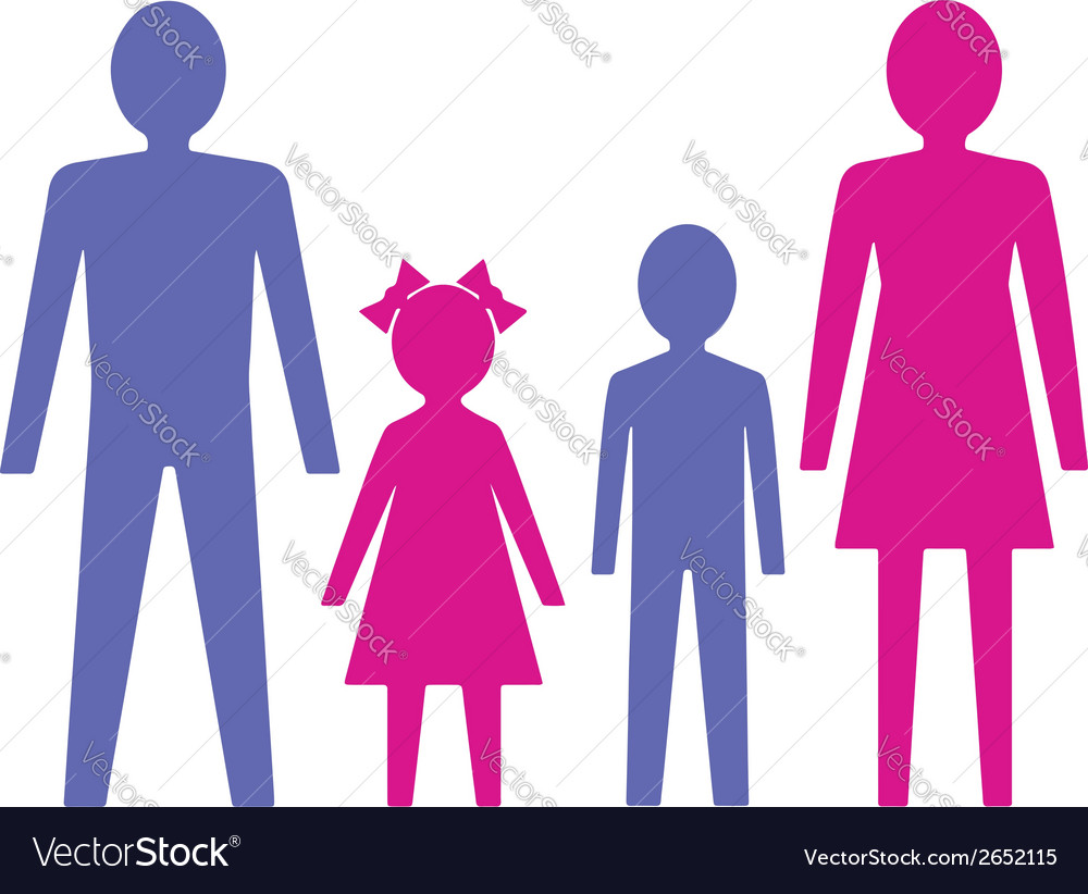 Family with children vector | Price: 1 Credit (USD $1)
