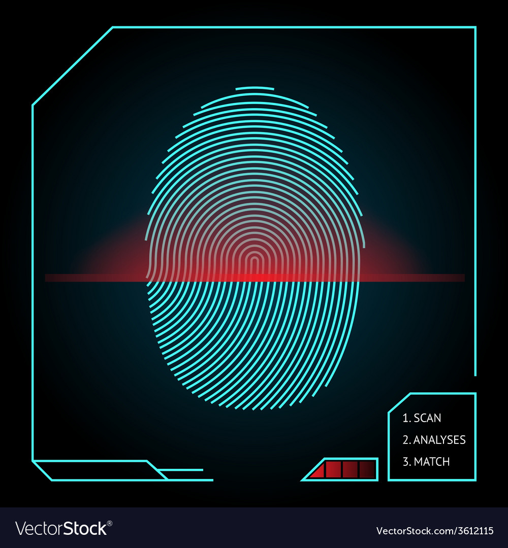 Fingerprint scanning and identification vector | Price: 1 Credit (USD $1)