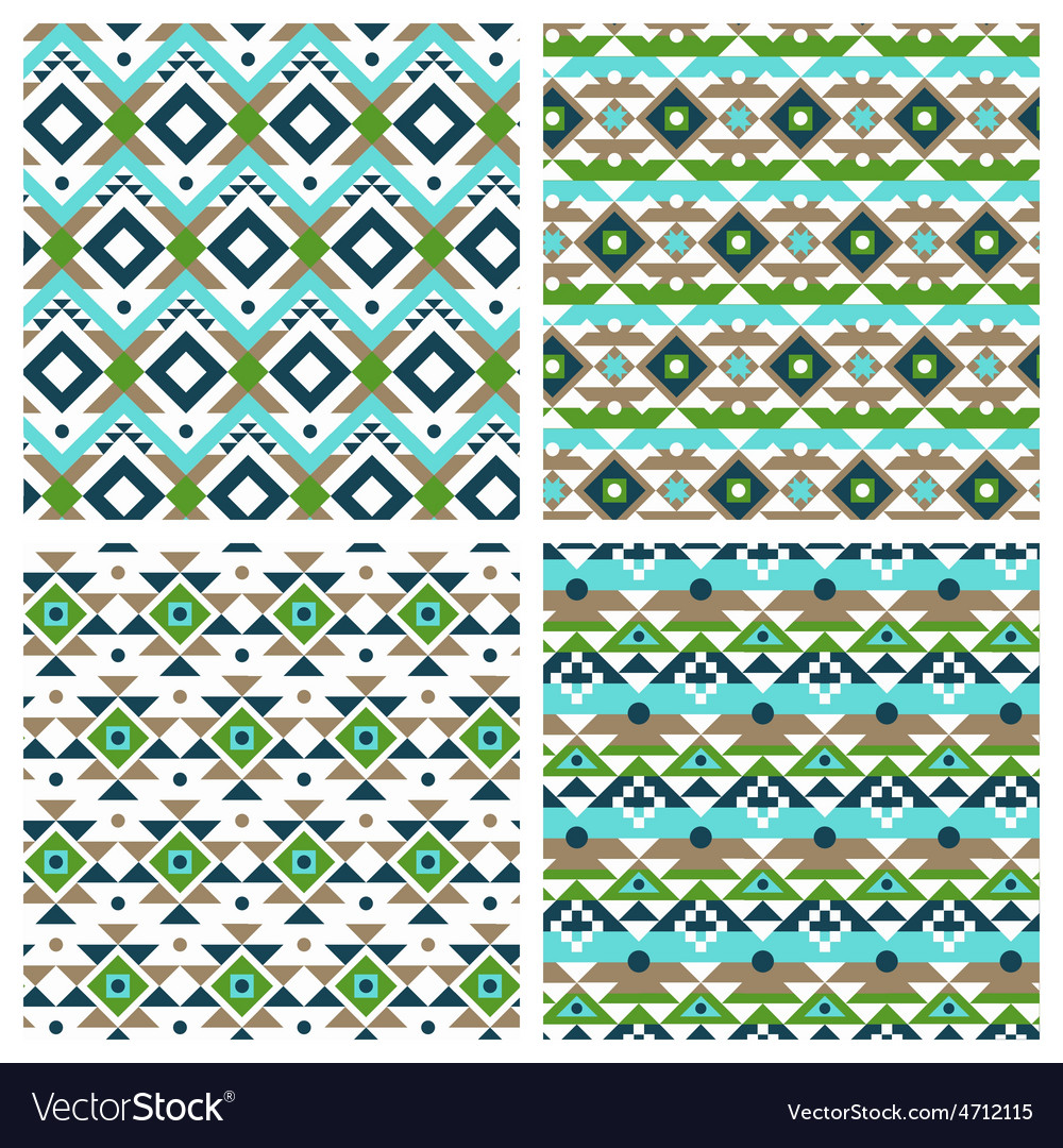 Geometric ethnic aztec mexican seamless patterns vector | Price: 1 Credit (USD $1)