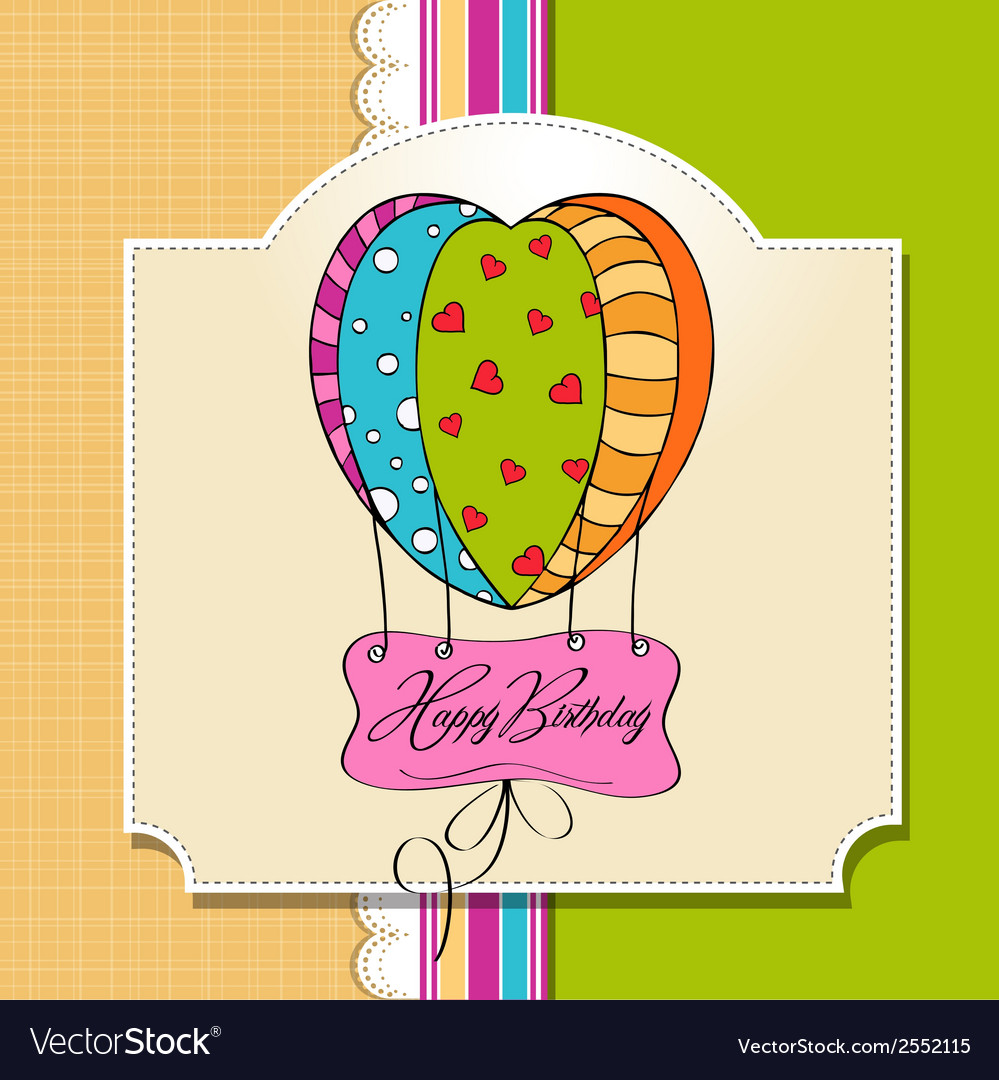 Happy birthday card with balloons vector | Price: 1 Credit (USD $1)
