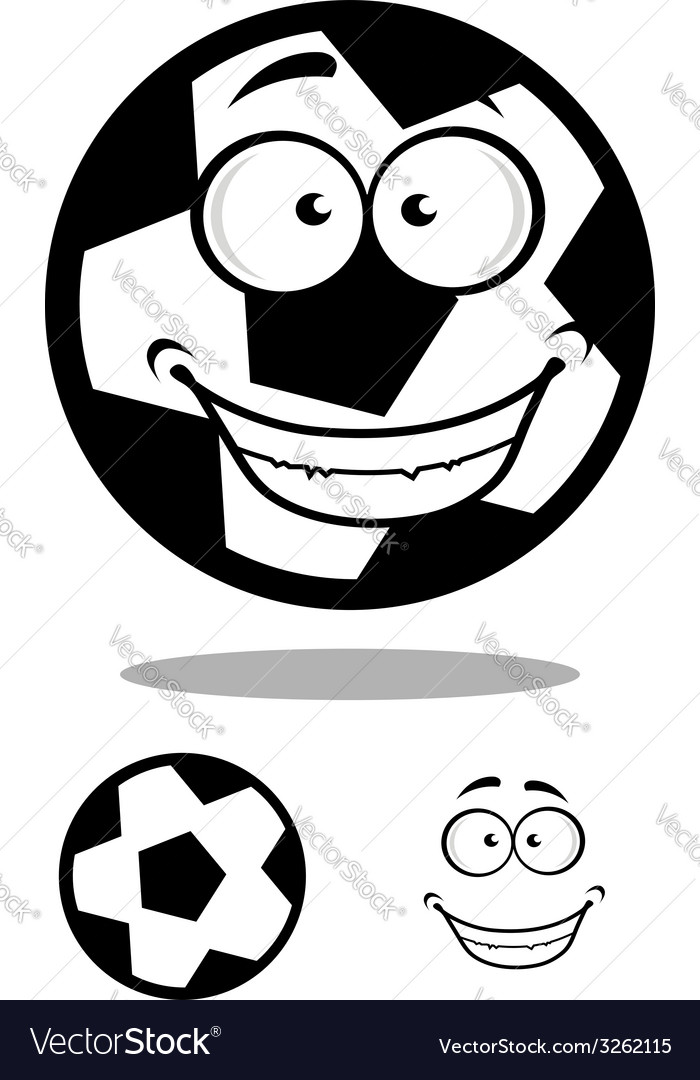 Happy football or soccer ball with a goofy smile vector | Price: 1 Credit (USD $1)