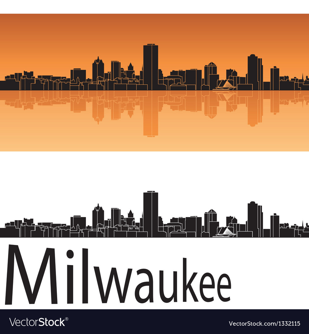 Milwaukee skyline in orange background vector | Price: 1 Credit (USD $1)