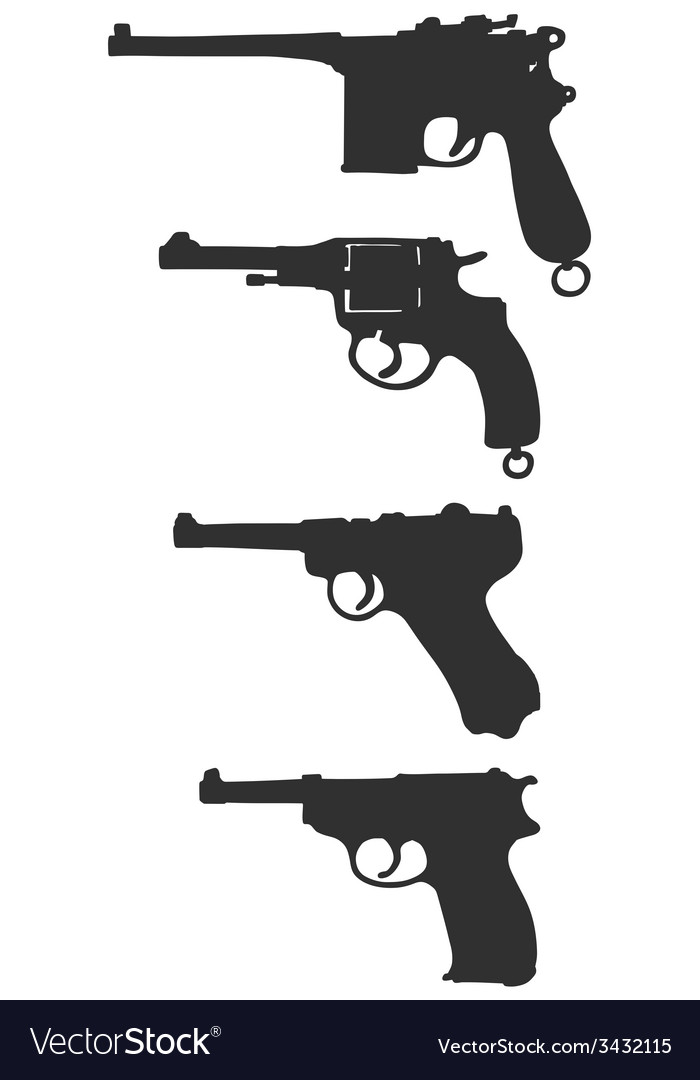Old handguns vector | Price: 1 Credit (USD $1)