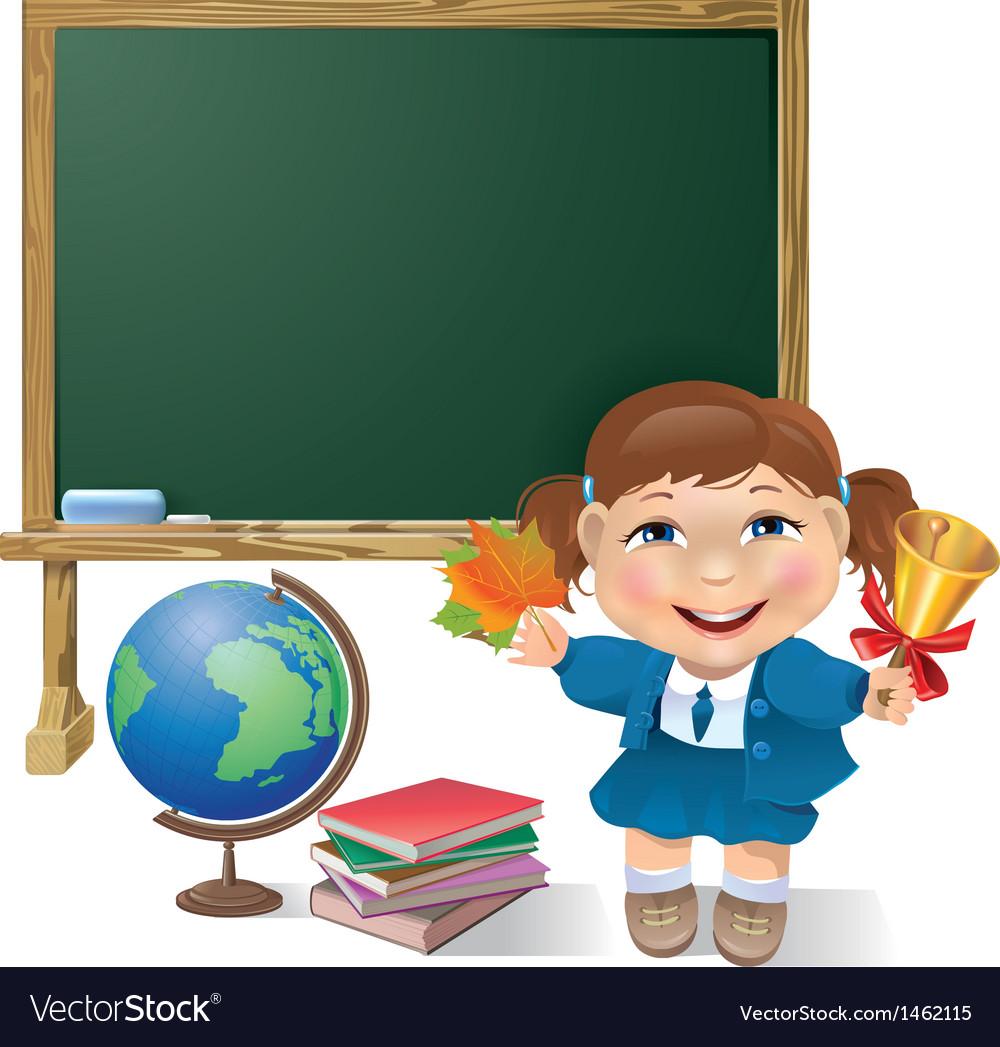 School board school girl and globe vector   Price: 1 Credit (USD $1)