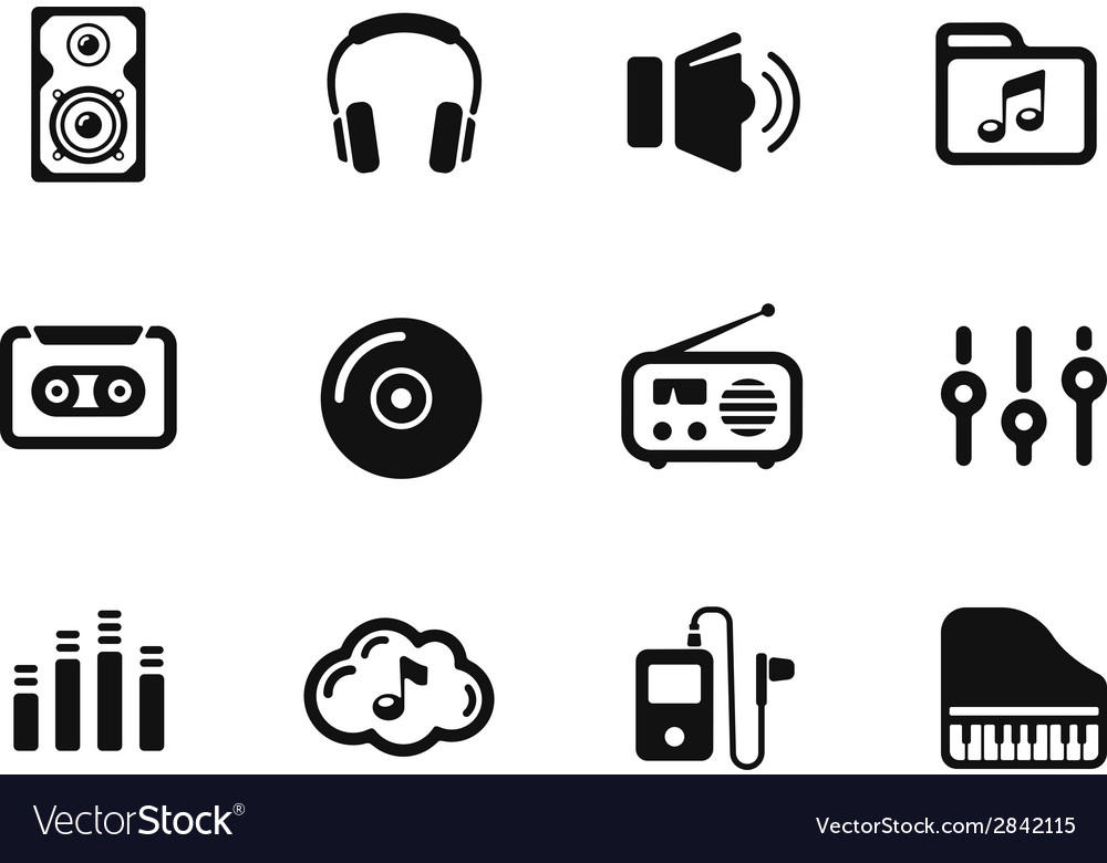 Several music themed icons vector | Price: 1 Credit (USD $1)