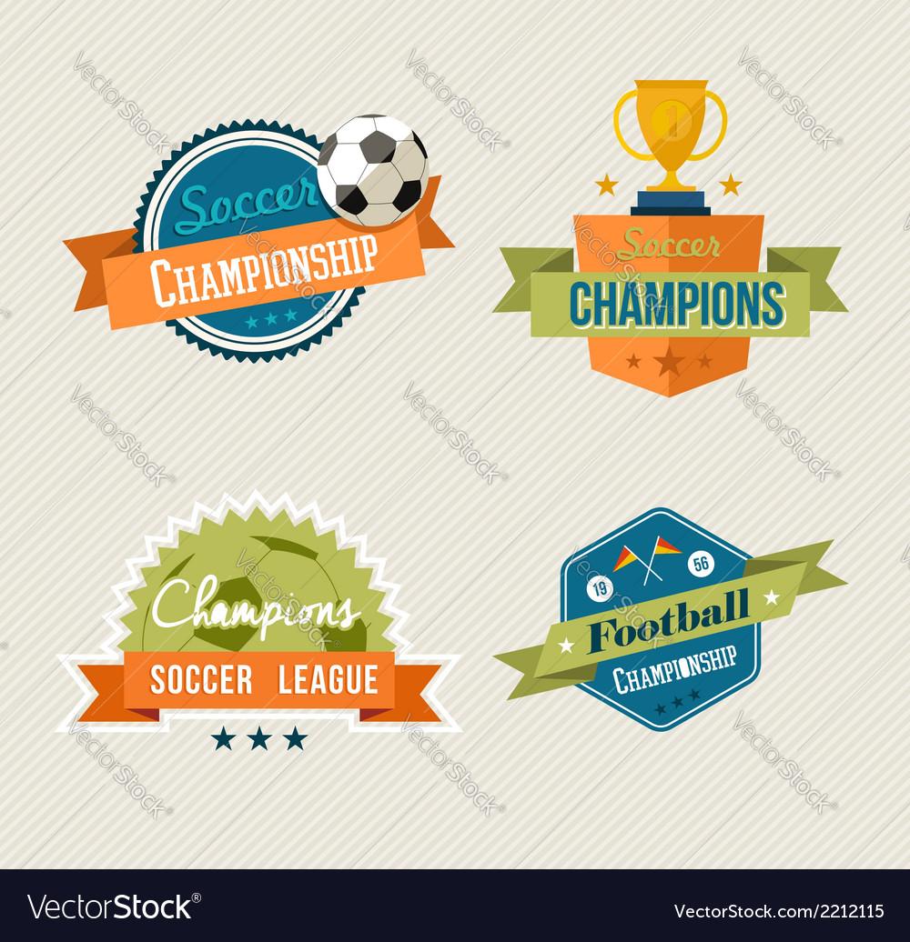 Soccer vintage labels set vector | Price: 1 Credit (USD $1)