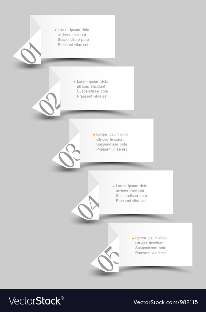 White origami paper numbered banners vector | Price: 1 Credit (USD $1)
