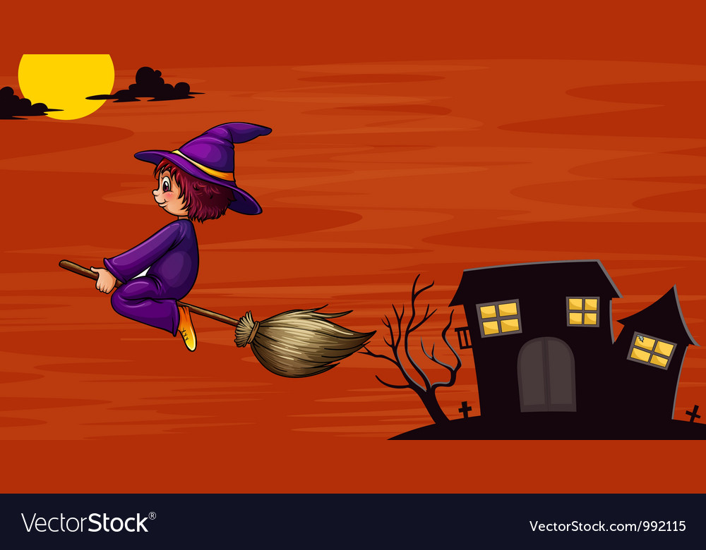 Witch on broom vector   Price: 1 Credit (USD $1)