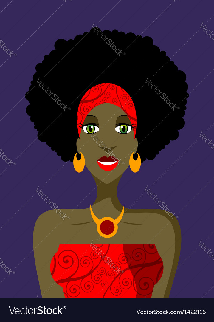 Afro woman with green eyes vector | Price: 1 Credit (USD $1)