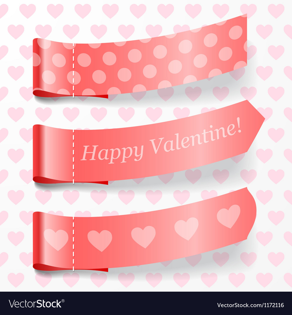Attach valentine ribbons vector | Price: 1 Credit (USD $1)