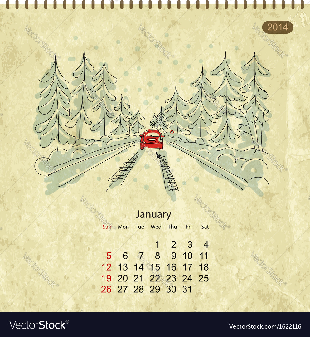 Calendar 2014 january streets of the city sketch vector | Price: 1 Credit (USD $1)