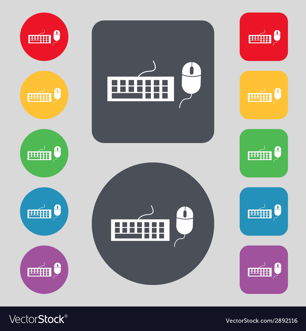 Computer keyboard and mouse icon set colourful vector | Price: 1 Credit (USD $1)