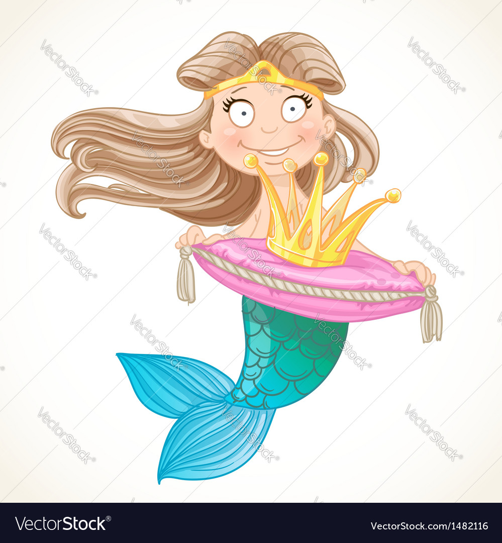 Cute mermaid holding a crown on the pillow vector | Price: 3 Credit (USD $3)