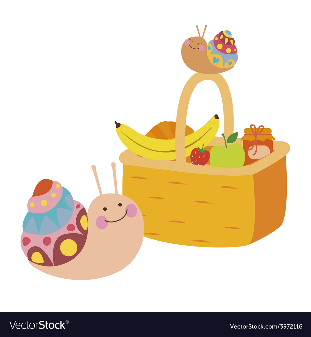 Fruit basket and snails vector | Price: 1 Credit (USD $1)