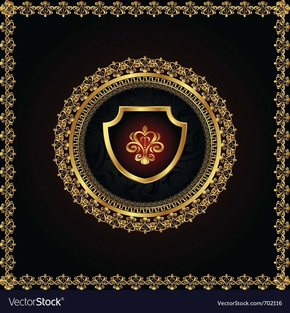 Golden floral frame with heraldic elements - vector | Price: 1 Credit (USD $1)