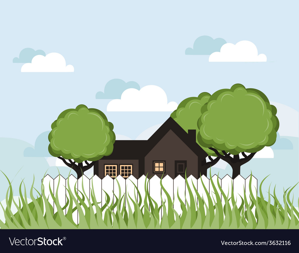 House in a garden vector | Price: 1 Credit (USD $1)