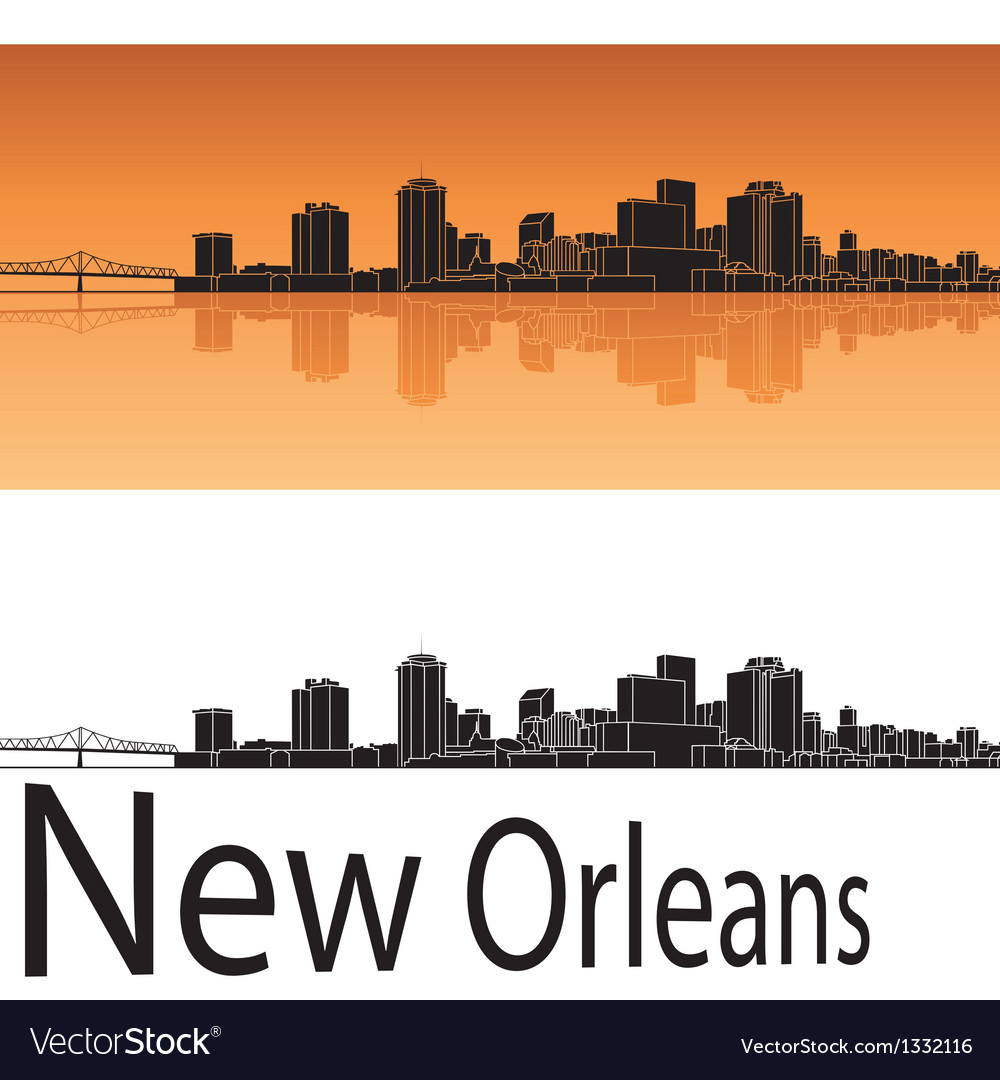 New orleans skyline in orange background vector | Price: 1 Credit (USD $1)