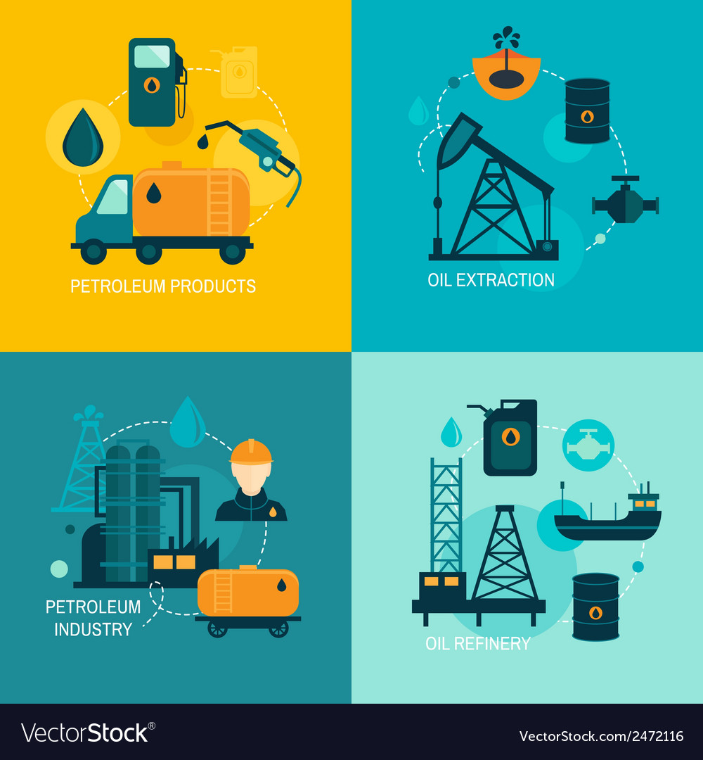 Oil industry flat composition vector | Price: 1 Credit (USD $1)