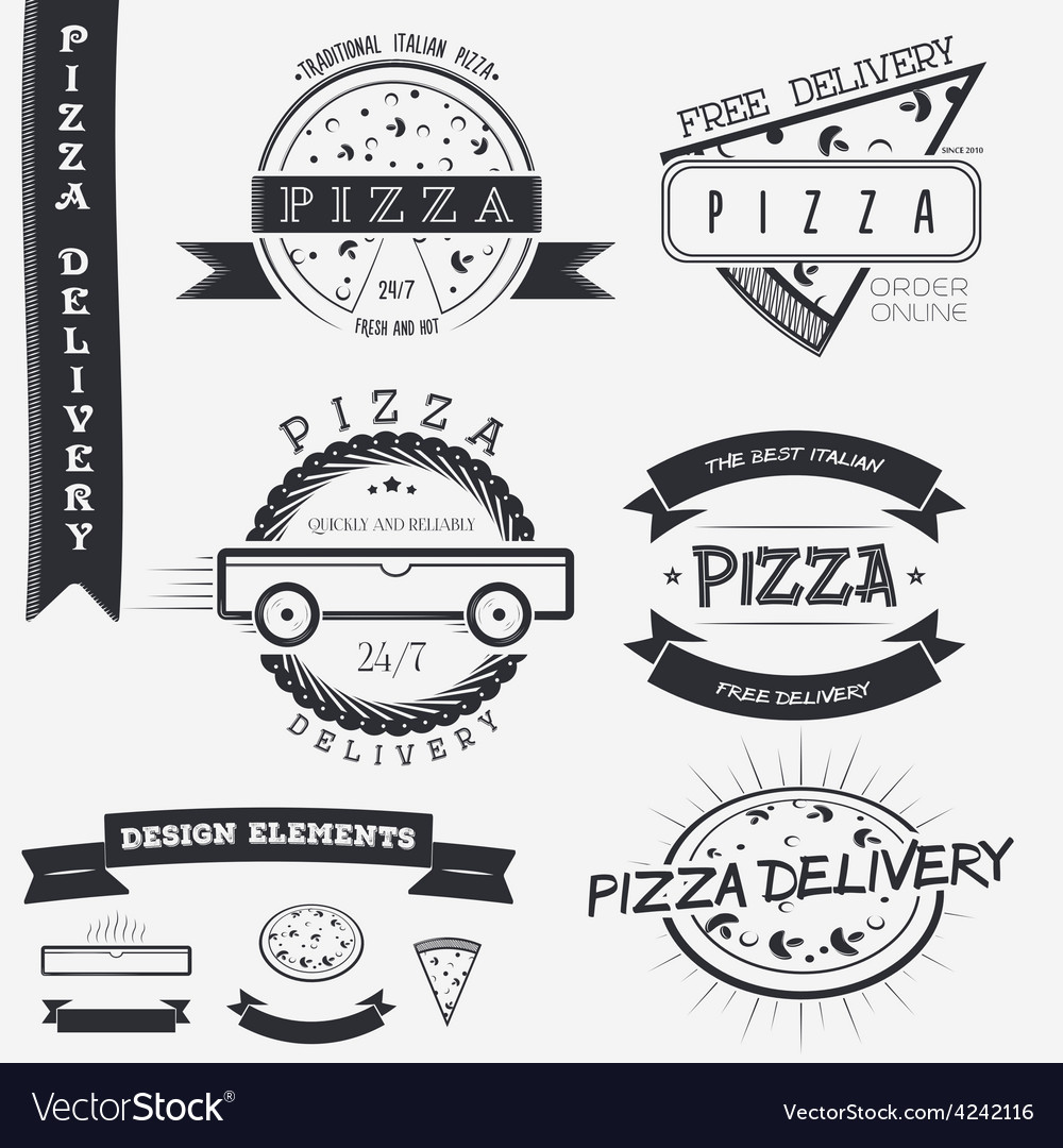 Pizza delivery the food and service set of vector   Price: 1 Credit (USD $1)