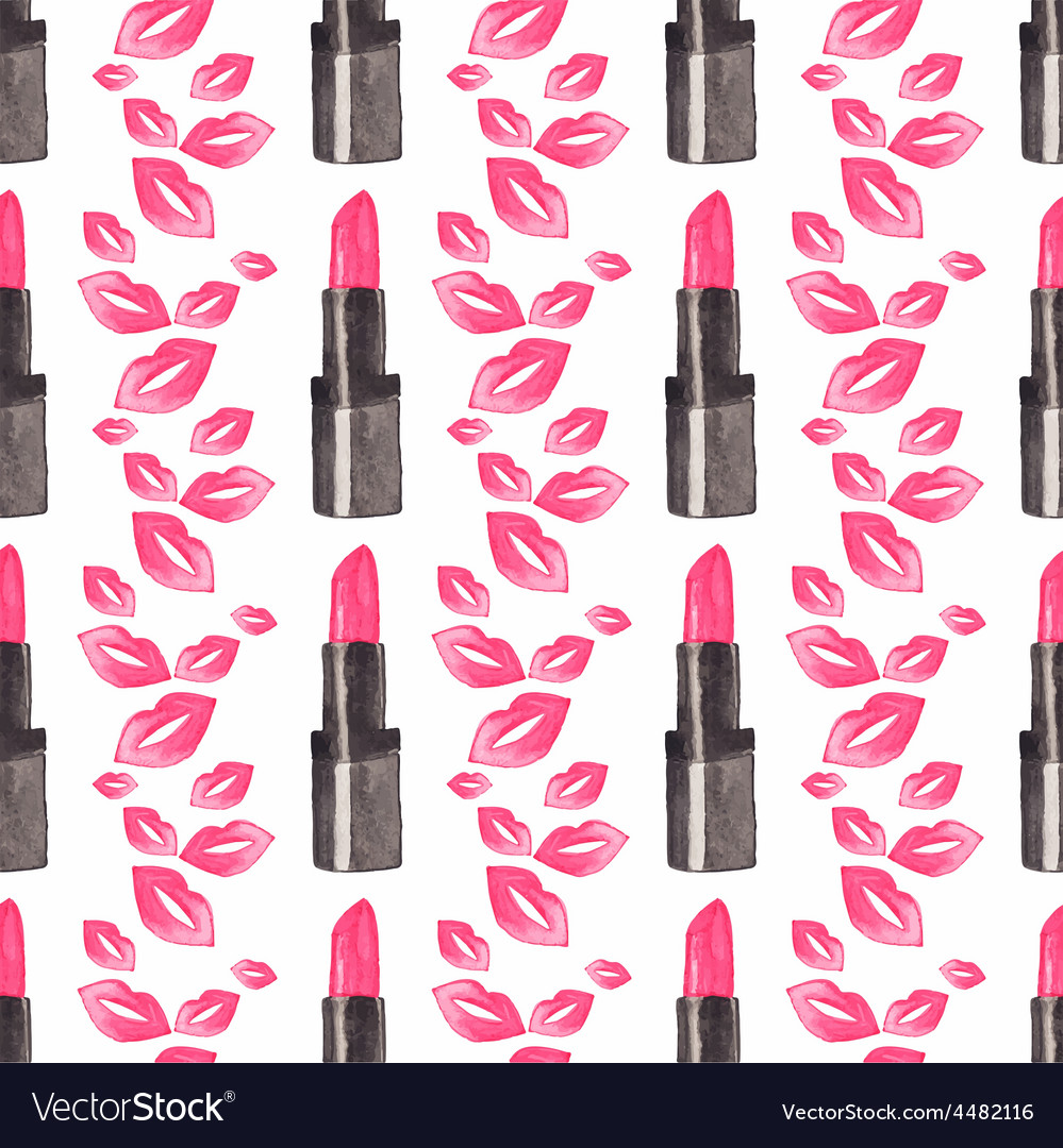 Seamless watercolor pattern with beauty items on vector