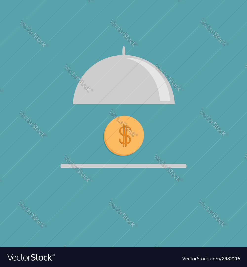 Silver platter cloche and gold dollar coin flat vector | Price: 1 Credit (USD $1)