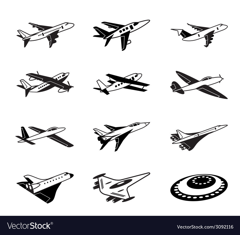 Various airplanes in flight vector | Price: 1 Credit (USD $1)