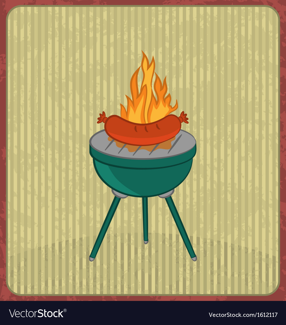 Barbecue card with sausage and flame vector | Price: 1 Credit (USD $1)
