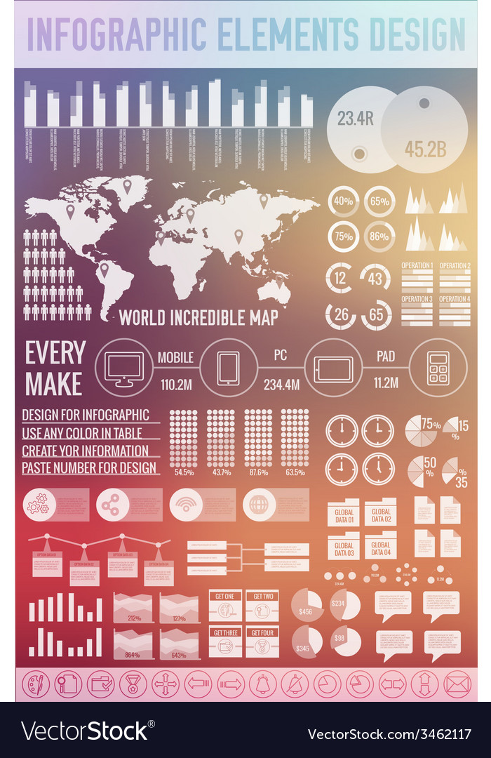Big business infographic elements set on blurred vector | Price: 1 Credit (USD $1)