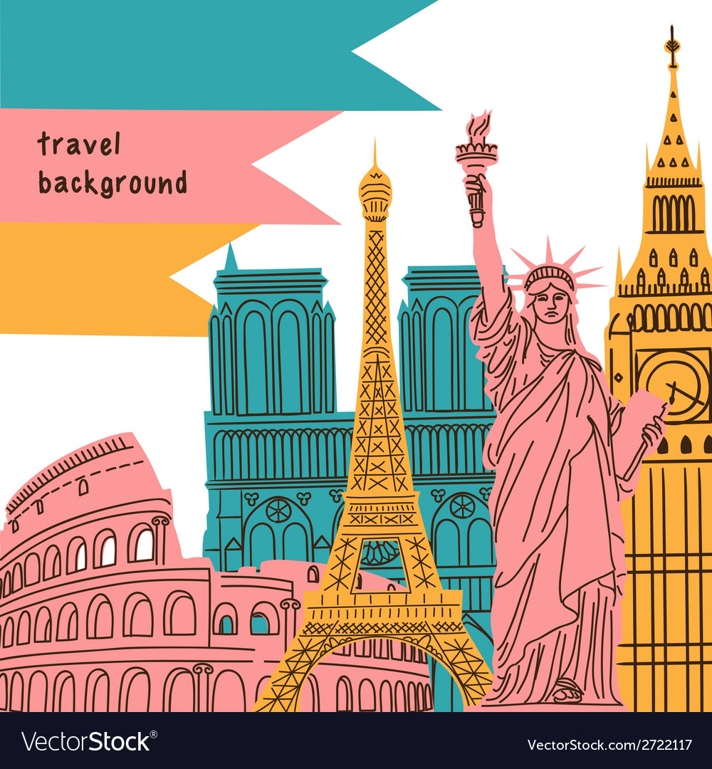 Bright background with world wide famous landmarks vector | Price: 1 Credit (USD $1)