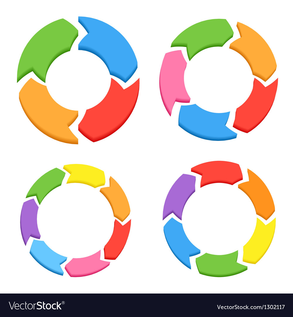 Color circle arrows set vector | Price: 1 Credit (USD $1)