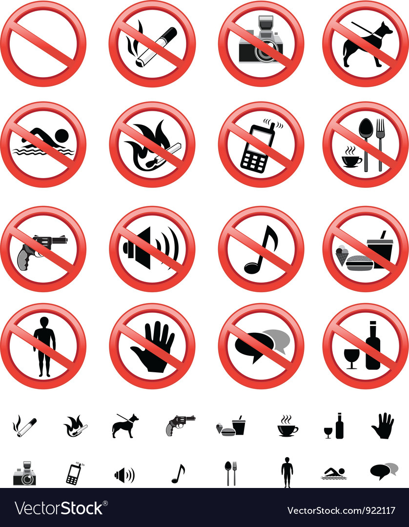 Forbidden signs set vector | Price: 1 Credit (USD $1)