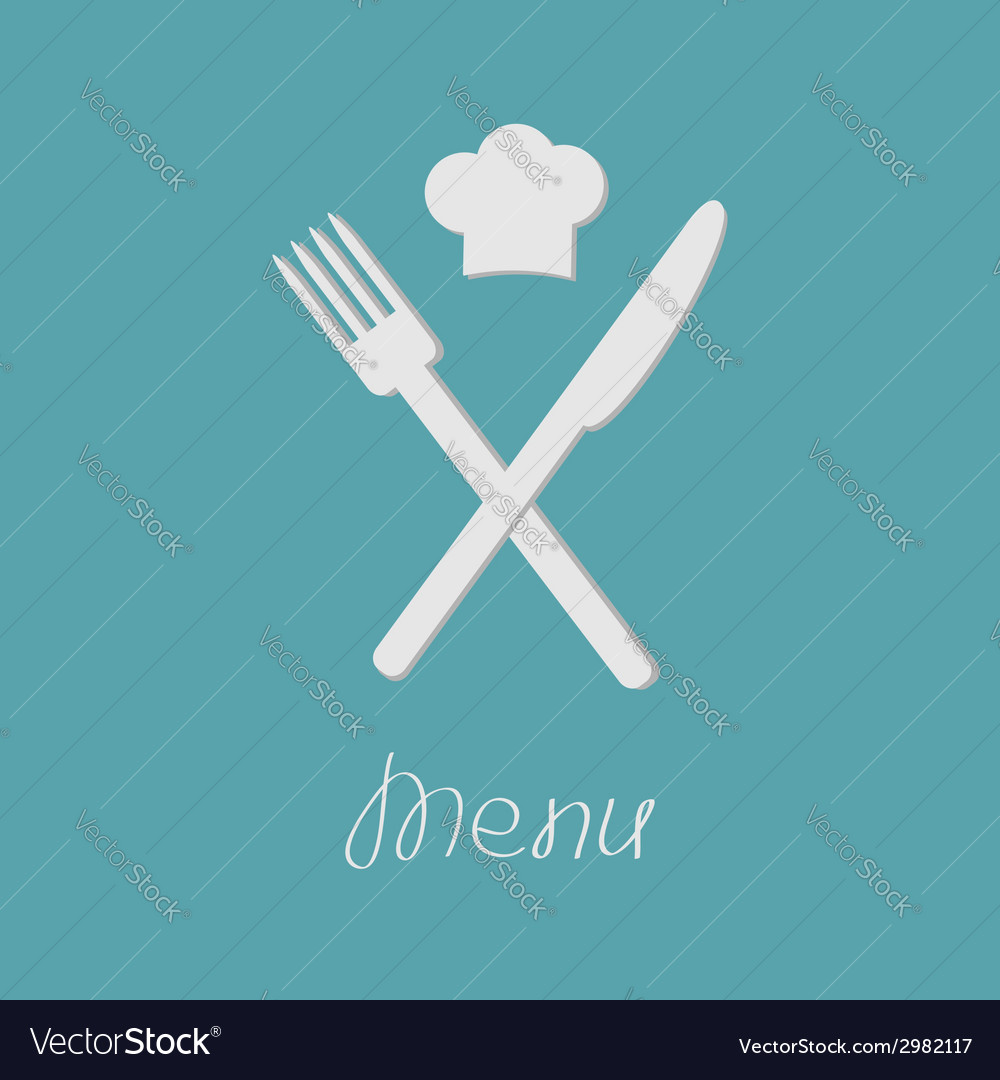 Fork knife and chef hat on the top menu card flat vector | Price: 1 Credit (USD $1)