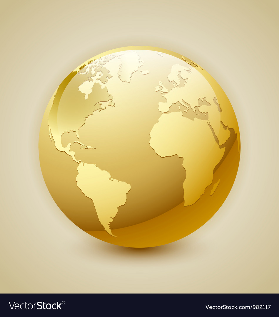 Golden earth icon vector | Price: 1 Credit (USD $1)