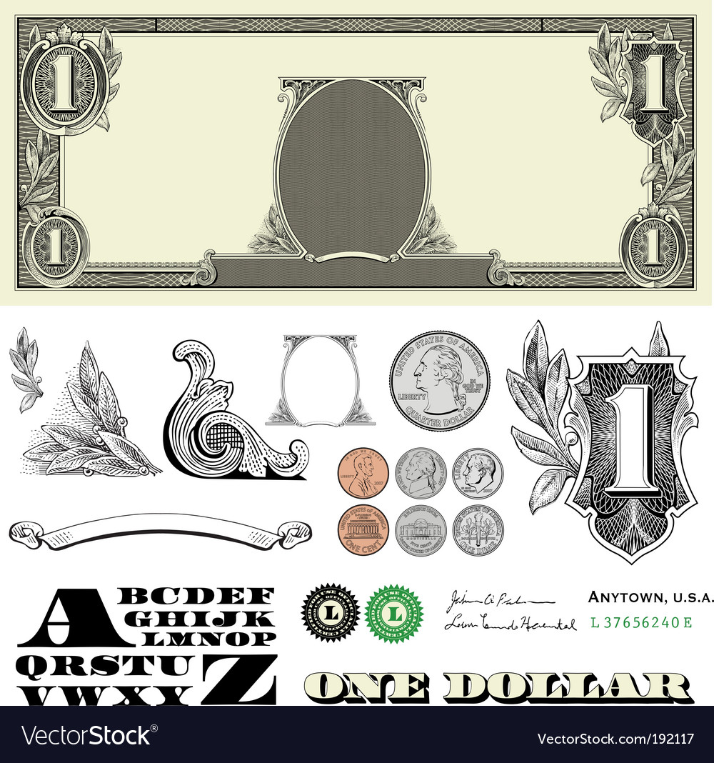 Money and coin set vector | Price: 1 Credit (USD $1)