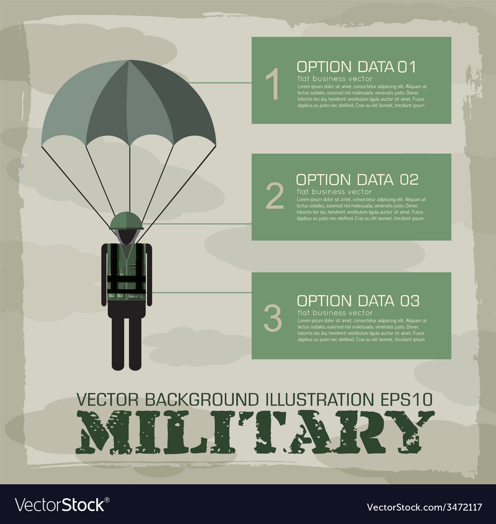 Paratrooper military infographics background vector | Price: 1 Credit (USD $1)