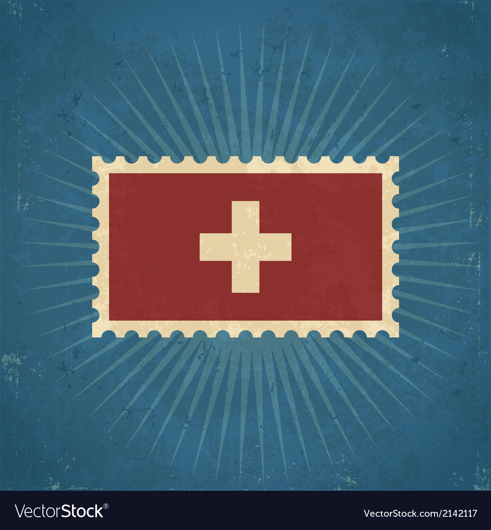 Retro switzerland flag postage stamp vector | Price: 1 Credit (USD $1)
